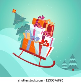 Sledge with gifts rushing down the snow slide. A stack of gift boxes and a Christmas tree tied to a sled with a rope. Festive bright flat vector illustration in cartoon style.