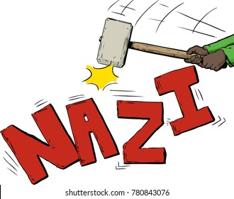 Sledge hammer in hands breaking up the word Nazi over white
