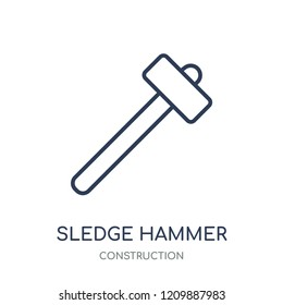 Sledge hammer icon. Sledge hammer linear symbol design from Construction collection. Simple outline element vector illustration on white background.