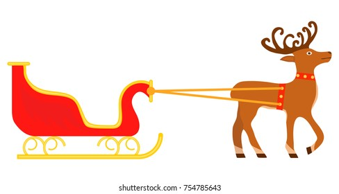 Sledge of Santa Claus with deer. Red sled with deer. Flat design, vector illustration, vector.