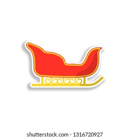 sledge sticker icon. Elements of Chrismas in color icons. Simple icon for websites, web design, mobile app, info graphics