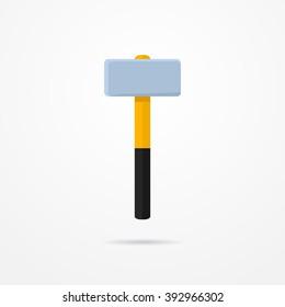 Sledgehammer in flat style. Typical cartoon sledgehammer tool. Sledgehammer isolated icon with shadow. Sledgehammer vector stock illustration.