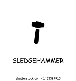 Sledgehammer flat vector icon. Hand drawn style design illustrations.