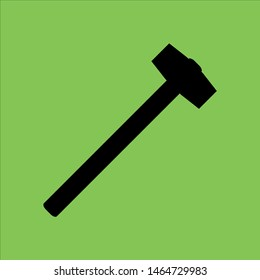 Sledgehammer icon isolated on green background.