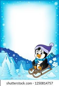Sledging penguin theme frame 1 - eps10 vector illustration.