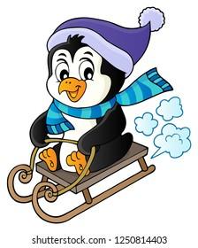 Sledging penguin theme image 1 - eps10 vector illustration.