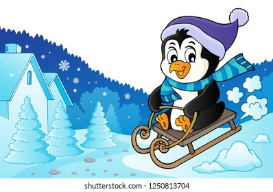 Sledging penguin theme image 3 - eps10 vector illustration.
