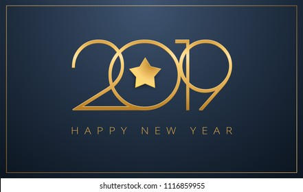 Sleek 2019 Happy New Year greeting card. Golden star design for Christmas and New Year 2019 celebration. Vector background gold and dark blue color