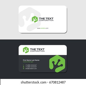 sleek business card with a hexagonal green logo in the form of a frog leg