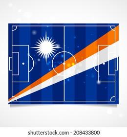Sleek design of a football field. Vector.   Flag of the Marshall Islands