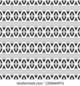 Sleek horizontal stripe in black, grey / gray and white. Linked chain design, seamless vector repeating pattern. Great for textiles, fashion, graphic design, stationery, decor and product packaging.