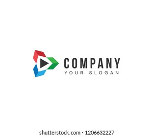 A sleek modern logo for multimedia company or product. It looks clean modern and refreshing. The three colors symbolize three different aspects of the company or product.