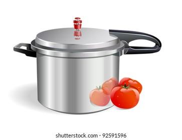 Sleek Pressure Cooker and tomatoes