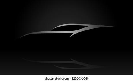 Sleek sports car vehicle silhouette logo on black background. Vector illustration.