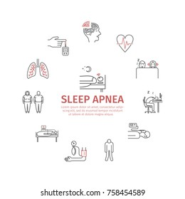 Sleep Apnea round banner. Symptoms, Treatment. Line icons. Vector signs for web graphics.