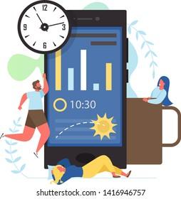 Sleep app, vector flat style design illustration