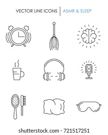 Sleep, ASMR and Insomnia icons. Made in outline style.