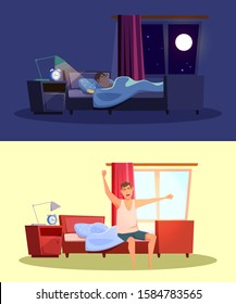 Sleep and awakening flat vector illustrations set. Young caucasian man in bedrooms cartoon characters. Guy sleeping at night and waking up in morning. Nighttime and daytime