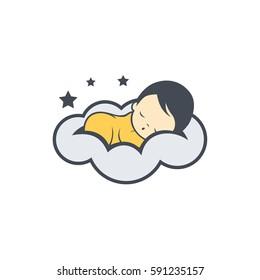 Sleep baby logo vector
