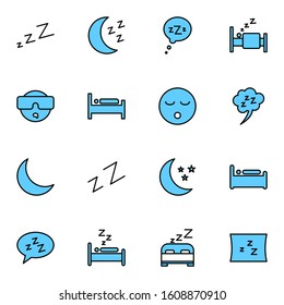 sleep, bedroom icon set. simple  sleeping, rest room, moon blue colored outline icon sign concept.