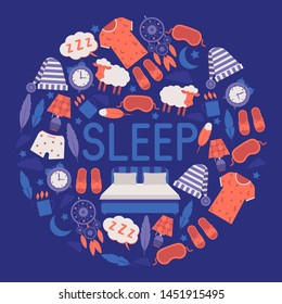Sleep and bedroom supplies banner vector illustration. Night equipment and clothing concept. Sleeping mask and hat, pajama, clock, night light, cup of hot drink. Big sleeping bed.