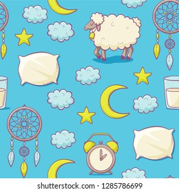 Sleep concept with pillow, vector seamless pattern