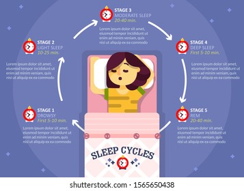 Sleep cycle infographics, vector flat illustration. Healthy sleep phases education diagram, scheme. Poster with sleeping girl and description of sleep stages.