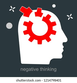 Sleep disorders, managing emotions, feeling mental tension, destructive thoughts, dissatisfaction experiencing stress, chronic fatigue, hysteric behavior, mental attitude icon vector flat illustration