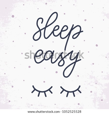 Sleep Easy Hand Drawn Lettering Quote Stock Vector Royalty Free