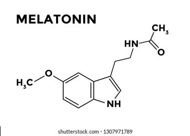 Sleep hormone melatonin structural formula on white background