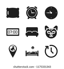 sleep icon. 9 sleep vector icons set. pet zone point, bed and pillow icons for web and design about sleep theme