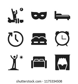 sleep icon. 9 sleep vector icons set. clock, double bed and bed icons for web and design about sleep theme