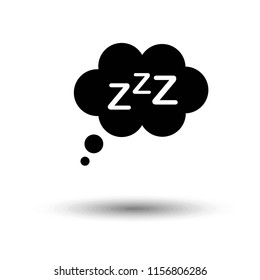 Sleep icon in flat style isolated on grey background. For your design, logo. Vector illustration.