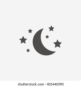 Sleep icon. Moon and stars sign. Night or bed time. Flat icon on white background. Vector