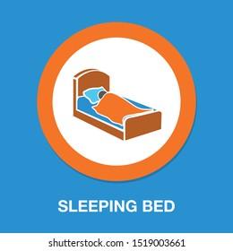 sleep icon, sleeping bed, hotel sign, hotel icon