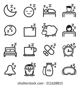 Sleep  icon Symbol illustration Set