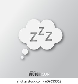 Sleep icon in white style with shadow isolated on grey background. For your design, logo. Vector illustration.