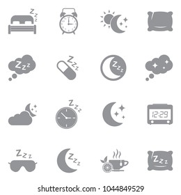 Sleep Icons. Gray Flat Design. Vector Illustration.