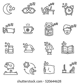 Sleep icons set. Attributes for sleep, thin line design. Deep sleep, linear symbols collection.
