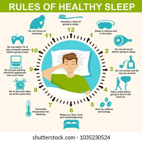 Sleep infographic. Rules of healthy Sleep. Vector Infographics Illustration. Useful Tips for a good night's Sleep.