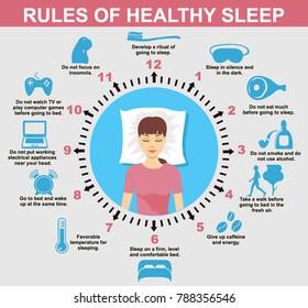 Sleep infographic. Rules of healthy Sleep. Vector Infographics Illustration. Useful Tips for a good night's Sleep.