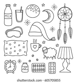 Sleep and insomnia outline items including moon, milk, stars, sheep, pillow, tea or coffee, pills, dream catcher, mask, alarm clock, nightcap isolated on white background.