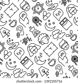 Sleep and insomnia seamless pattern with thin line icons: man in sleeping mask, comfortable pillow, alarm, aroma lamp, earplugs, sheep. Vector illustration for banner, web page, print media.