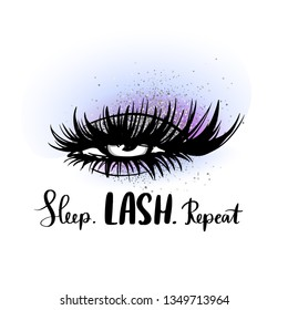 Sleep Lash Repeat. Hand sketched Lashes quote. Calligraphy phrase for beauty salon, lash extensions maker, decorative cards, beauty blogs. Stylish vector makeup drawing. Closed eyes. Glitter eyeshadow
