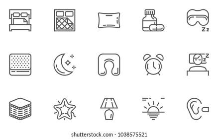 Sleep Line Icons Set. Sleeping Pills, Pillow, Mattress, Nightlight. Editable Stroke. 48x48 Pixel Perfect.