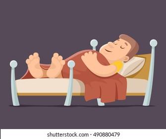 Sleep man bed rest night blanket pillow cartoon vector illustration