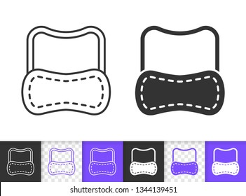 Sleep Mask black linear and silhouette icons. Thin line sign of eyemask. Eye Blindfold outline pictogram isolated on white, transparent background. Vector Icon shape. Goodnight simple symbol closeup