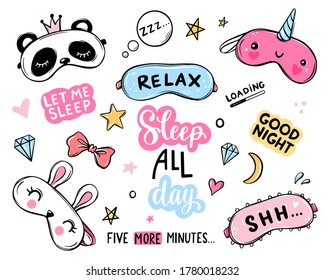 Sleep masks and quotes vector set. Lettering phrases good night, sweet dreams, sleep all day. Blindfold classic and animal shaped - unicorn, cat, rabbit, panda. Eyemasks cute stickers collection.