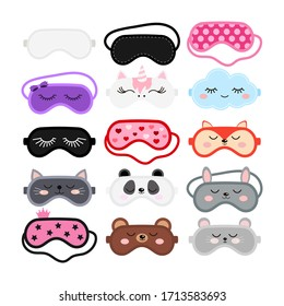 Sleep masks set. Eye protection wear accessory collection - cute animal faces, pink, black color. Relaxation blindfolds isolated on white background. Eye cover flat design cartoon vector illustration.