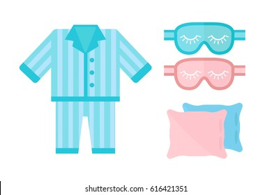 Sleep pajamas icon vector illustration bed sign symbol isolated dream bedroom bedtime pyjamas pillow blindfold